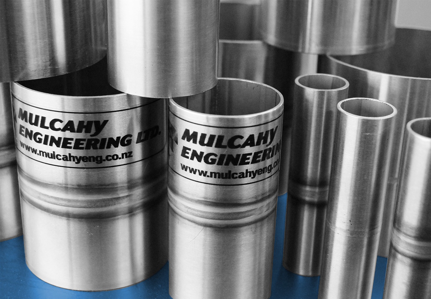 Automatically welded stainless steel tube sections.