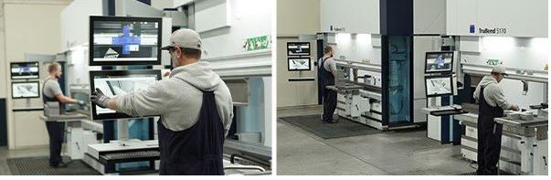 operator programming a metal folding job on an automated Trumpf metal pressing machine